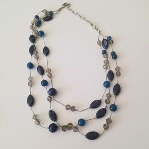 Talbots Multi-Strand Silver and Blue Bead Necklace